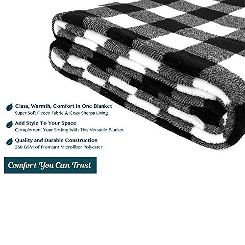 PAVILIA Flannel Fleece Throw Blanket For Sofa Couch Super Soft Velvet Plaid Pattern Checkered Decorative Throw Warm Cozy Lightweight Microfiber 50 X 60 Inches Plaid WhiteBlack 0 4