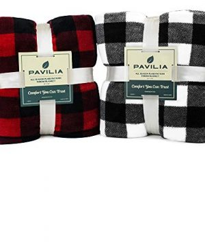 PAVILIA Flannel Fleece Throw Blanket For Sofa Couch Super Soft Velvet Plaid Pattern Checkered Decorative Throw Warm Cozy Lightweight Microfiber 50 X 60 Inches Plaid WhiteBlack 0 5 300x360