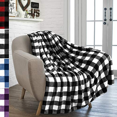 PAVILIA Flannel Fleece Throw Blanket For Sofa Couch Super Soft Velvet Plaid Pattern Checkered Decorative Throw Warm Cozy Lightweight Microfiber 50 X 60 Inches Plaid WhiteBlack 0