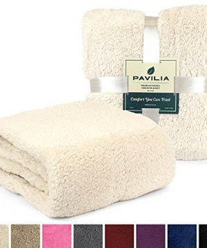 PAVILIA Plush Sherpa Throw Blanket For Couch Sofa Fluffy Microfiber Fleece Throw Soft Fuzzy Cozy Lightweight Solid Latte Cream Blanket 50 X 60 Inches 0 0 300x360