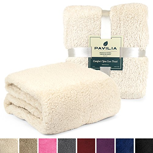 PAVILIA Plush Sherpa Throw Blanket For Couch Sofa Fluffy Microfiber Fleece Throw Soft Fuzzy Cozy Lightweight Solid Latte Cream Blanket 50 X 60 Inches 0 0