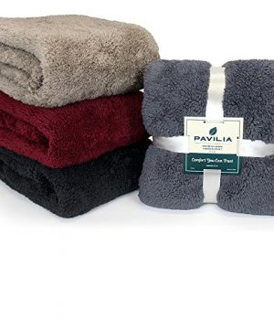 PAVILIA Plush Sherpa Throw Blanket For Couch Sofa Fluffy Microfiber Fleece Throw Soft Fuzzy Cozy Lightweight Solid Latte Cream Blanket 50 X 60 Inches 0 4 300x360