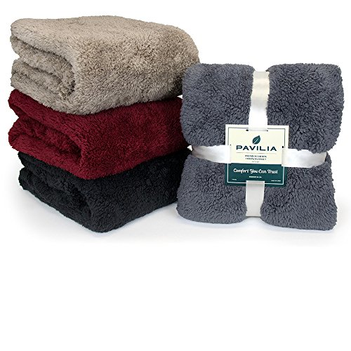 PAVILIA Plush Sherpa Throw Blanket For Couch Sofa Fluffy Microfiber Fleece Throw Soft Fuzzy Cozy Lightweight Solid Latte Cream Blanket 50 X 60 Inches 0 4