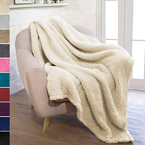 PAVILIA Plush Sherpa Throw Blanket For Couch Sofa Fluffy Microfiber Fleece Throw Soft Fuzzy Cozy Lightweight Solid Latte Cream Blanket 50 X 60 Inches 0