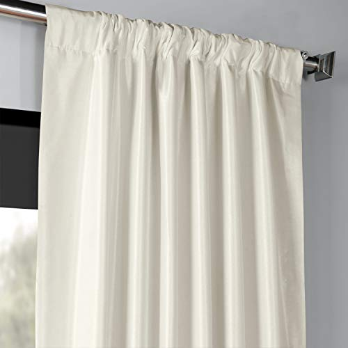 PDCH KBS2BO 84 Blackout Vintage Textured Faux Dupioni Curtain Off White 50 X 84 0 1