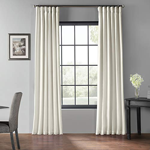 PDCH KBS2BO 84 Blackout Vintage Textured Faux Dupioni Curtain Off White 50 X 84 0