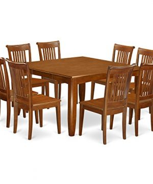PFPO9 SBR W 9 Pc Dining Room Set For 8 Kitchen Table With Leaf And 8 Dinette Chairs 0 300x360
