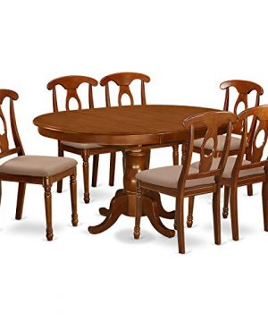 PONA7 SBR C 7 Pc Dining Room Set And Oval Dining Table With Leaf And 6 Dining Chairs 0 300x360
