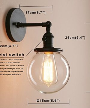 Pathson Industrial Wall Sconce With Round Clear Glass Globe Shade Vintage Style Wall Lamp Farmhouse Wall Light Fixtures For Loft Bathroom Bedroom 0 1 300x360