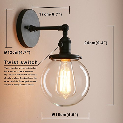 Pathson Industrial Wall Sconce With Round Clear Glass Globe Shade Vintage Style Wall Lamp Farmhouse Wall Light Fixtures For Loft Bathroom Bedroom 0 1