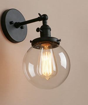 Pathson Industrial Wall Sconce With Round Clear Glass Globe Shade Vintage Style Wall Lamp Farmhouse Wall Light Fixtures For Loft Bathroom Bedroom 0 3 300x360