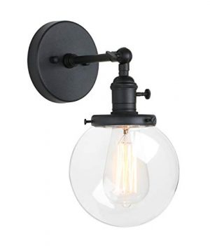Pathson Industrial Wall Sconce With Round Clear Glass Globe Shade Vintage Style Wall Lamp Farmhouse Wall Light Fixtures For Loft Bathroom Bedroom 0 300x360