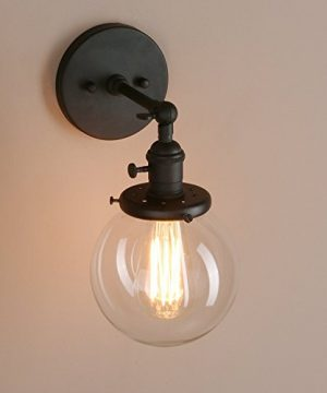 Pathson Industrial Wall Sconce With Round Clear Glass Globe Shade Vintage Style Wall Lamp Farmhouse Wall Light Fixtures For Loft Bathroom Bedroom 0 4 300x360