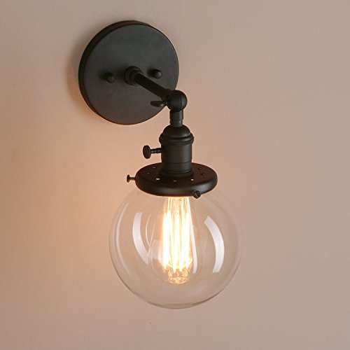 """Pathson Double Sconce Industrial Antique Wall Lamp 5.9/""""Globe Glass Wall Lighting"""