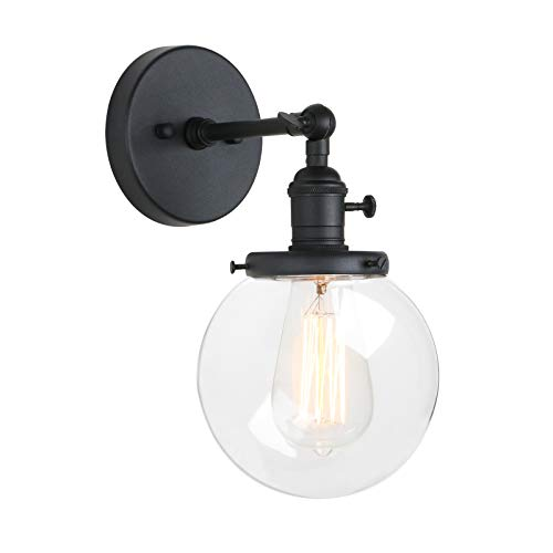 Pathson Industrial Wall Sconce With Round Clear Glass Globe Shade Vintage Style Wall Lamp Farmhouse Wall Light Fixtures For Loft Bathroom Bedroom 0