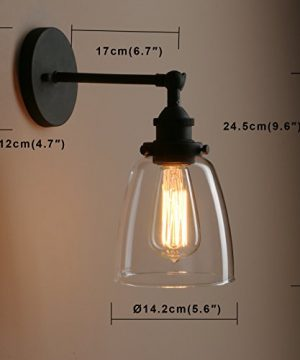 Pathson Vintage Wall Sconce With Clear Glass Shade Metal Base Industrial Wall Light Fixtures Wall Mounted Lamp For Farmhouse Bedroom Bathroom Vanity Mirror Cafe Club Black 0 2 300x360