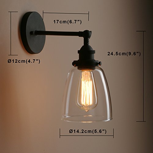 Pathson Vintage Wall Sconce With Clear Glass Shade Metal Base Industrial Wall Light Fixtures Wall Mounted Lamp For Farmhouse Bedroom Bathroom Vanity Mirror Cafe Club Black 0 2