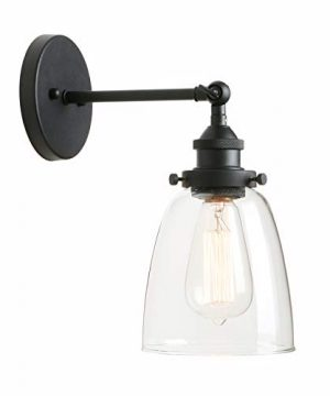 Pathson Vintage Wall Sconce With Clear Glass Shade Metal Base Industrial Wall Light Fixtures Wall Mounted Lamp For Farmhouse Bedroom Bathroom Vanity Mirror Cafe Club Black 0 300x360