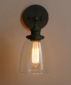 Pathson Vintage Wall Sconce With Clear Glass Shade Metal Base Industrial Wall Light Fixtures Wall Mounted Lamp For Farmhouse Bedroom Bathroom Vanity Mirror Cafe Club Black 0 5 300x360