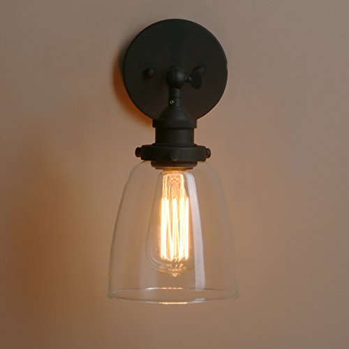 Pathson Vintage Wall Sconce With Clear Glass Shade Metal Base Industrial Wall Light Fixtures Wall Mounted Lamp For Farmhouse Bedroom Bathroom Vanity Mirror Cafe Club Black 0 5