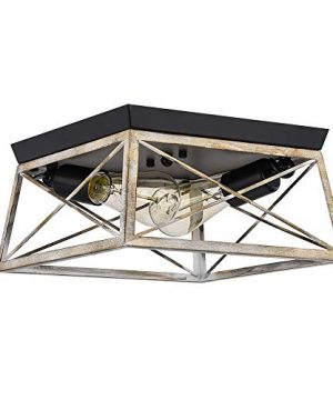 Pauwer 2 Light Flush Mount Ceiling Light Industrial Rustic Ceiling Light Fixture With Square Metal Cage Shade Ceiling Lighting For Entry Hallway Bedroom Bathroom Faux Wood Finish 0 300x360