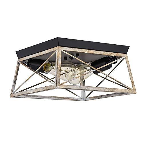 Pauwer 2 Light Flush Mount Ceiling Light Industrial Rustic Ceiling Light Fixture With Square Metal Cage Shade Ceiling Farmhouse Goals