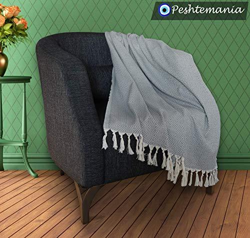 Peshtemania Throw Blanket With Fringe 100 Cotton Lightweight For Chair Couch Boho Farmhouse Rustic Decor Turkish Towel Ultra Soft Evil Eye Beach Bath Spa Sauna Gym Yoga Picnic 0 1