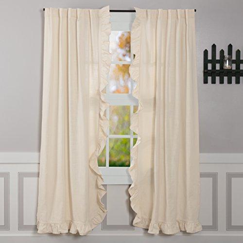 Piper Classics Ashley Natural Ruffled Panel Curtains Set Of 2 84 Long Farmhouse Style Beige Cream Drapes 0
