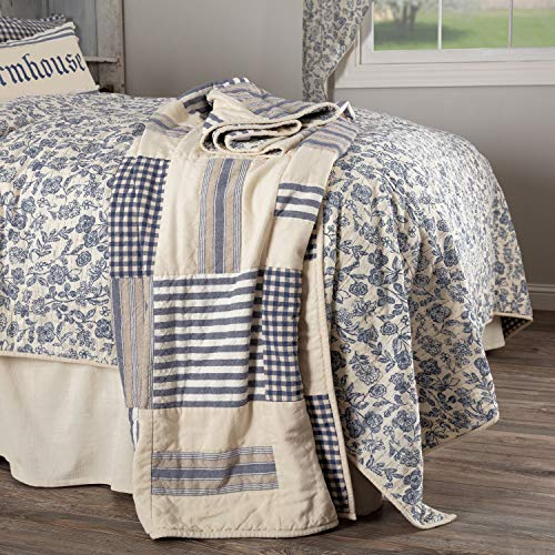Piper Classics Doylestown Blue Quilted Patchwork Throw Blanket Gingham Checks Grain Sack Ticking Stripes 60 X 50 Blue Cream Vintage Farmhouse Rustic Country Or Cottage Bedroom 0