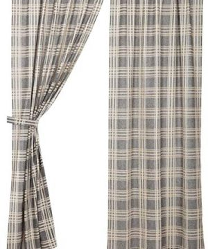 Piper Classics Logan Gray Curtain Panels Set Of 2 84 Long Modern Farmhouse Country Curtains Light Gray Cream Plaid Drapes 0 0 300x360
