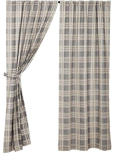 Piper Classics Logan Gray Curtain Panels Set Of 2 84 Long Modern Farmhouse Country Curtains Light Gray Cream Plaid Drapes 0 0
