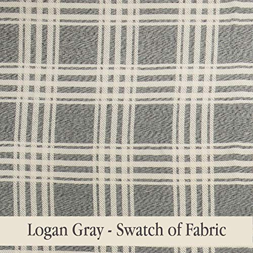 Piper Classics Logan Gray Curtain Panels Set Of 2 84 Long Modern Farmhouse Country Curtains Light Gray Cream Plaid Drapes 0 3