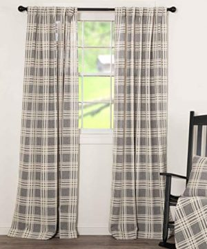 Piper Classics Logan Gray Curtain Panels Set Of 2 84 Long Modern Farmhouse Country Curtains Light Gray Cream Plaid Drapes 0 300x360