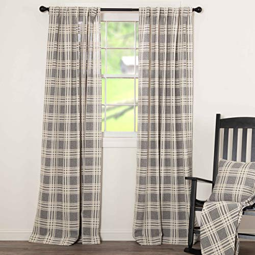 Piper Classics Logan Gray Curtain Panels Set Of 2 84 Long Modern Farmhouse Country Curtains Light Gray Cream Plaid Drapes 0