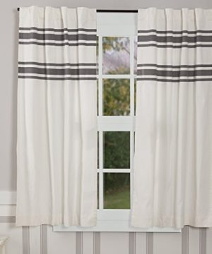 Piper Classics Silo Hill Charcoal Stripe Panel Curtains Set Of 2 63 Long Farmhouse Style Antique White Drapes 0 300x360