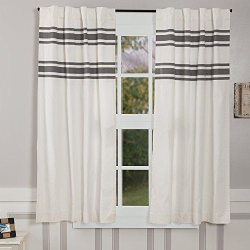 Piper Classics Silo Hill Charcoal Stripe Panel Curtains Set Of 2 63 Long Farmhouse Style Antique White Drapes 0
