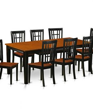 QUNI9 BCH W 9 PC Dining Room Set Dining Table With 8 Wooden Dining Chairs 0 300x360