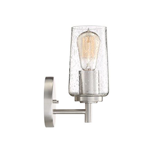 Quoizel EDS8601BN Edison Farmhouse Wall Sconce 1 Light 100 Watts Brushed Nickel 10 H X 5 W 0 2
