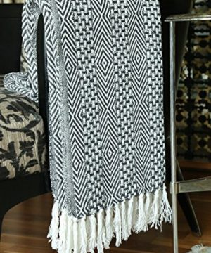 RAJRANG BRINGING RAJASTHAN TO YOU Rustic Farmhouse Throw Blanket Vintage Boho Room Decor Blankets Soft Cotton Cozy Sofa Bed Throw With Cute Tassel Charcoal Grey 50 X 60 Inches 0 1 300x360