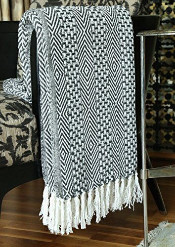 RAJRANG BRINGING RAJASTHAN TO YOU Rustic Farmhouse Throw Blanket Vintage Boho Room Decor Blankets Soft Cotton Cozy Sofa Bed Throw With Cute Tassel Charcoal Grey 50 X 60 Inches 0 1