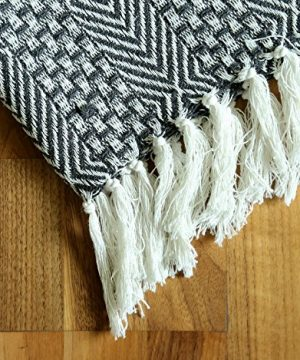 RAJRANG BRINGING RAJASTHAN TO YOU Rustic Farmhouse Throw Blanket Vintage Boho Room Decor Blankets Soft Cotton Cozy Sofa Bed Throw With Cute Tassel Charcoal Grey 50 X 60 Inches 0 2 300x360