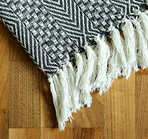 RAJRANG BRINGING RAJASTHAN TO YOU Rustic Farmhouse Throw Blanket Vintage Boho Room Decor Blankets Soft Cotton Cozy Sofa Bed Throw With Cute Tassel Charcoal Grey 50 X 60 Inches 0 2