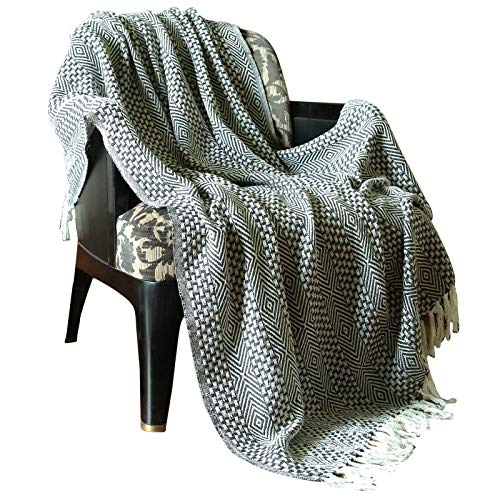 RAJRANG BRINGING RAJASTHAN TO YOU Rustic Farmhouse Throw Blanket Vintage Boho Room Decor Blankets Soft Cotton Cozy Sofa Bed Throw With Cute Tassel Charcoal Grey 50 X 60 Inches 0