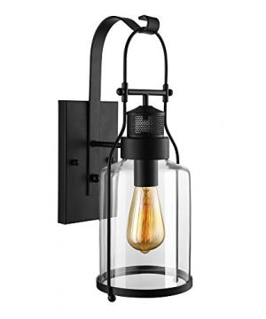RUNNUP Industrial Wall Sconces Wall Lighting Lantern Wall Lamp Wall Fixture Loft Light With Cylinder Glass Shade Use E26 Light Bulb In Black Finish 1 Light 0 300x360