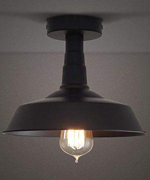 RUXUE Semi Flush Mount Ceiling Light Industrial Vintage Style Warehouse Pendant Lighting Fixtures Black 0 300x360