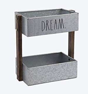 Rae Dunn 2 Tier Desk Organizer Galvanized Steel Caddy With Wood Accents Tabletop Or Floor Design Chic Stylish Storage Bin For Office Home Or Kitchen Dream Print Rae Dunn By Designstyles 0 0 300x320