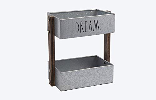 Rae Dunn 2 Tier Desk Organizer Galvanized Steel Caddy With Wood Accents Tabletop Or Floor Design Chic Stylish Storage Bin For Office Home Or Kitchen Dream Print Rae Dunn By Designstyles 0 0