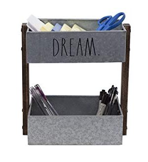 Rae Dunn 2 Tier Desk Organizer Galvanized Steel Caddy With Wood Accents Tabletop Or Floor Design Chic Stylish Storage Bin For Office Home Or Kitchen Dream Print Rae Dunn By Designstyles 0 1 300x328