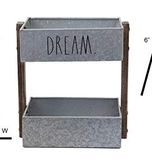 Rae Dunn 2 Tier Desk Organizer Galvanized Steel Caddy With Wood Accents Tabletop Or Floor Design Chic Stylish Storage Bin For Office Home Or Kitchen Dream Print Rae Dunn By Designstyles 0 2 300x320
