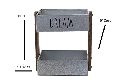 Rae Dunn 2 Tier Desk Organizer Galvanized Steel Caddy With Wood Accents Tabletop Or Floor Design Chic Stylish Storage Bin For Office Home Or Kitchen Dream Print Rae Dunn By Designstyles 0 2